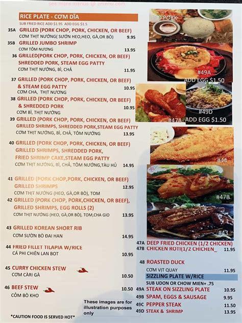 menu  pho real grill vietnamese bistro