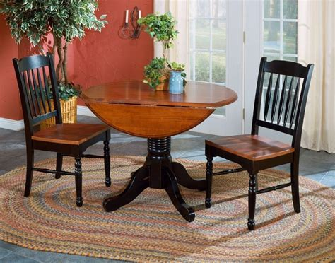 british isles 42 quot oak black round double drop leaf dining