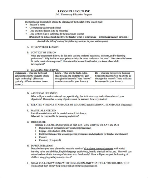 Outline Of A Lesson Plan Template lesson plan outline template 10 free free word pdf