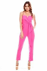 NEON PINK BRIGHT BOW TIE CAUSAL JUMPSUIT