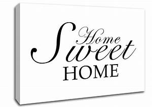 Home sweet home white text quotes canvas stretched canvas for Kitchen colors with white cabinets with home sweet home canvas wall art