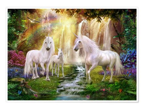 Posters & affiches de Licornes dans une clairière près de