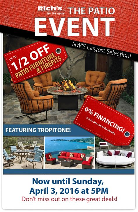 half sale on patio furniture and pits rich s