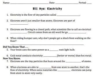 Bill Nye Electricity Video Worksheet By Mayberry In Montana Tpt