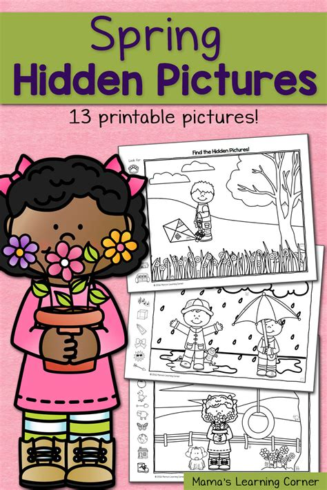 find  spring hidden picture worksheets mamas learning