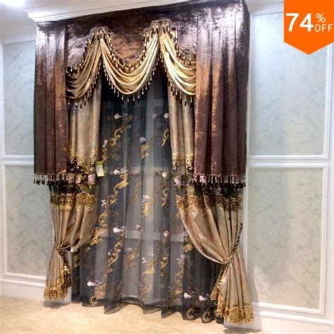 brown valance beige golden flowers curtains dinning room