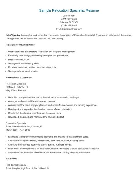 sle relocation specialist resume resame