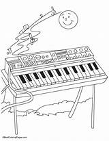 Coloring Pages Keyboard Organ Synthesizer Colouring Pipe Printable Sheets Bestcoloringpages Casio Colorful Musical Instruments Template sketch template