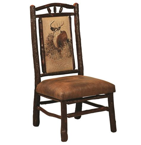 set  amish hickory log bark dining side chairs