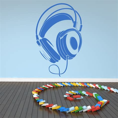 wired headphones stereo musical notes instruments wall