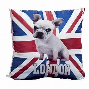 Coussin Art Deco : coussin 40x40 cm zip d houssable marquage london sur drapeau anglais avec chien ~ Teatrodelosmanantiales.com Idées de Décoration