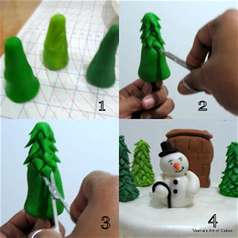 easy classy christmas tree from fondant fondant trees and snowman tutorial by veena s of cakes the cake directory