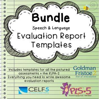 school age language standardized eval report templates
