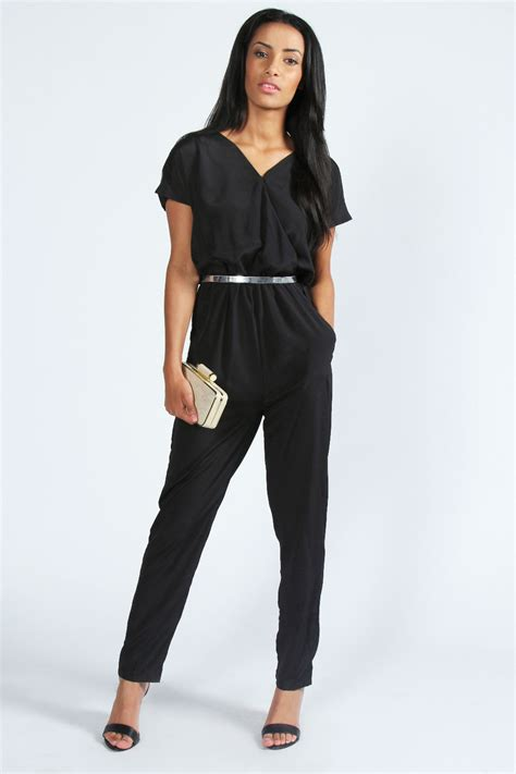 wrap jumpsuit boohoo naeve wrap front sleeveless jumpsuit in black ebay