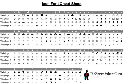 Wingdings & Webdings Font Icon Character Map (printable