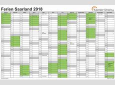 Ferien Saarland 2018 Ferienkalender zum Ausdrucken