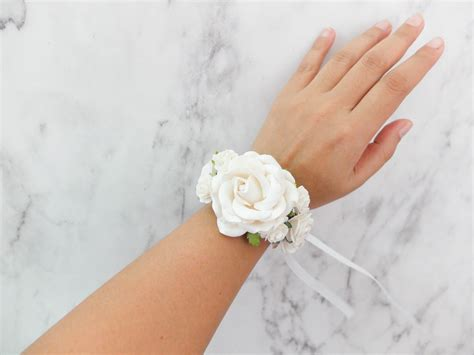 wedding flower wrist corsage soft white bridal floral