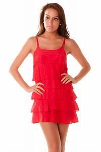 belle petite robe legere a volants rouge grossiste With robe d été pas cher pour femme