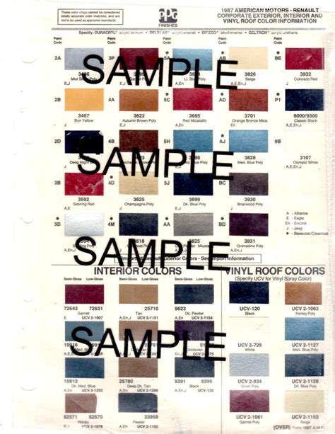 1987 jeep grand wagoneer exterior paint color chips