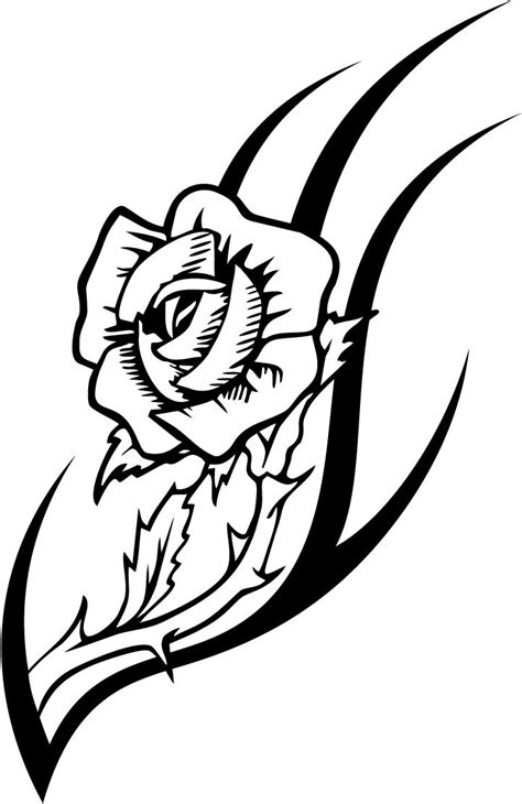working sheet of a rose tattoo design for kidz - Coloring Point | Rose tattoo design, Tribal