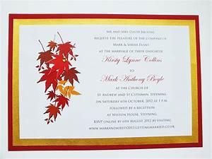 autumn wedding invitations autumn themed wedding invite With blank autumn wedding invitations