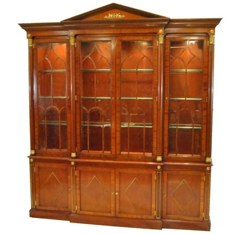 kindel neoclassic mahogany breakfront china cabinet for