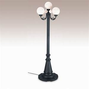 European globe portable patio lamp black post white globes