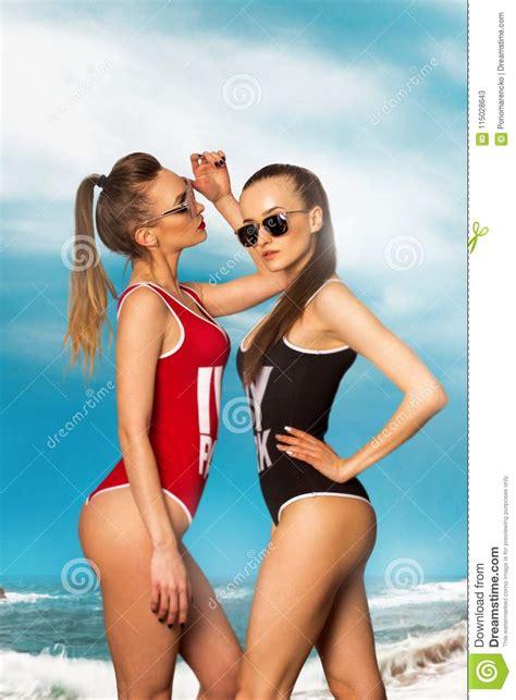 beautiful girls   beach  hawaii stock image