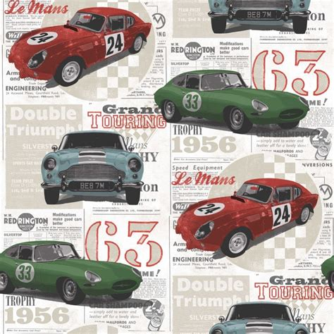 Fine Decor Vintage Race Cars Kids Bedroom Wallpaper Red