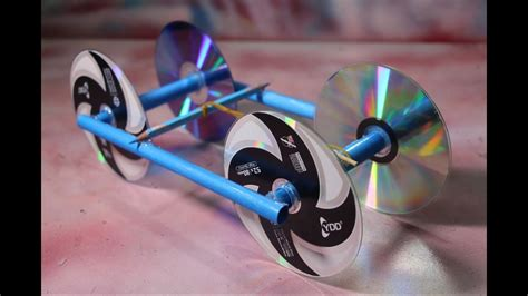 rubber band powered car  recycle cd disc diy kids projects youtube