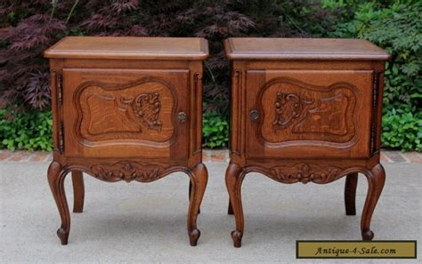Antique French Rococo Oak Pair Small Side Cabinets End