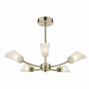 Wolsey antique brass ceiling light with frosted glass shades