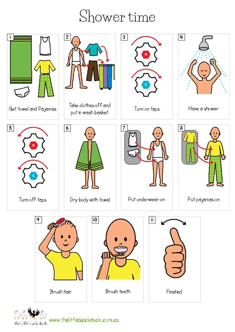 visual schedule for showering routine showertime autism εικόνες pecs