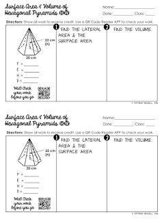 surface area  volume  pyramids unit  images