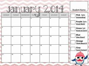 6 best images of cute printable color charts printable for Monthly behavior calendar template
