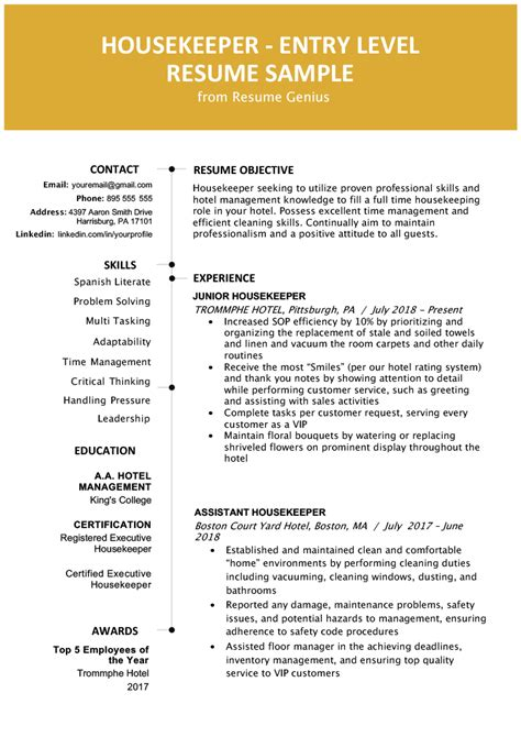 Housekeeping Resume Template by Entry Level Hotel Housekeeper Resume Sle Resume Genius