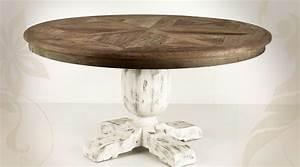 Table Ronde Bois Massif : grande table ronde en bois massif style rustique pied quadripode ~ Teatrodelosmanantiales.com Idées de Décoration