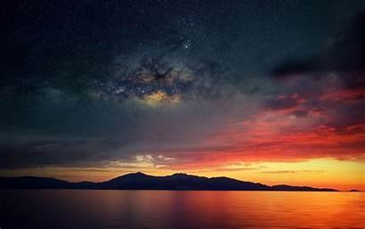 Sky Galaxy Stars Landscape Sea Evening Nature