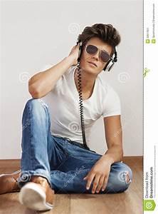 Listening To Music On Headphone Stock Image - Image: 33617651