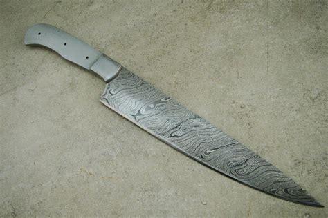Blank Blade 14″ Damascus Kitchen Chef's Knife Custom Handmade