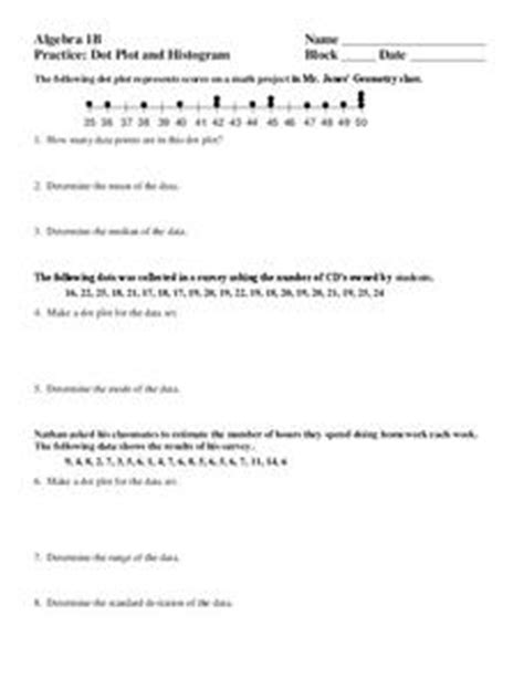 dot plot and histogram 9th 12th grade worksheet lesson planet