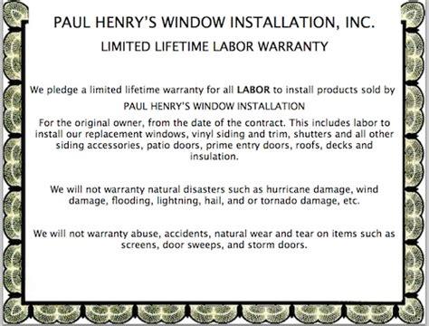 lifetime labor warranty paul henrys