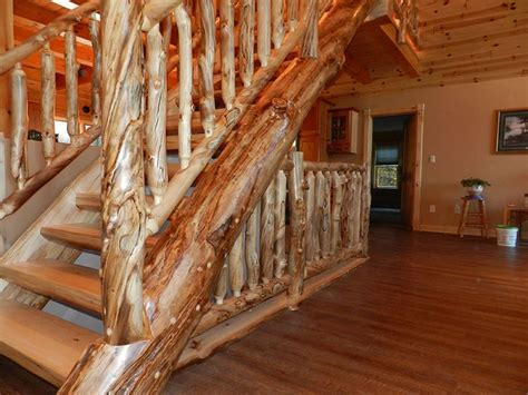 detailed log stairs railings