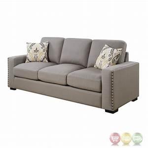 rosanna plush grey linen sofa with nailhead trim With grey sectional sofa with nailhead trim