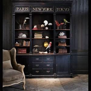 Maison Du Monde Bibliotheque : biblioth que en mahogany noire l 210 cm haussmann maisons du monde maison salon salle ~ Teatrodelosmanantiales.com Idées de Décoration