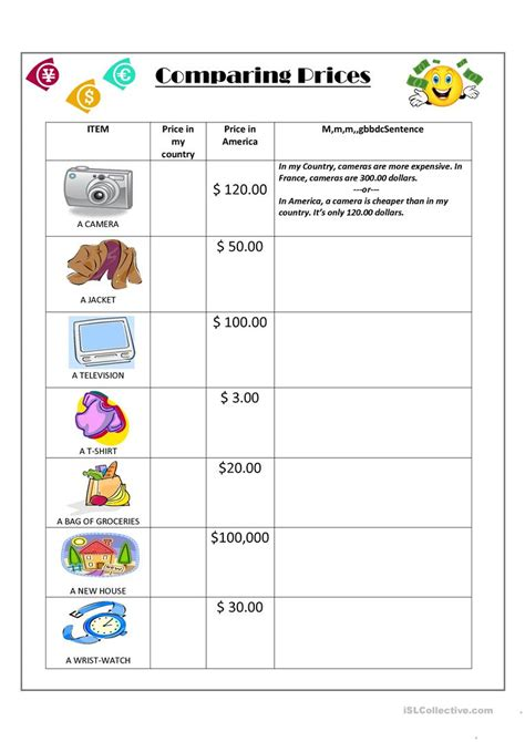 comparing prices worksheet worksheets for all
