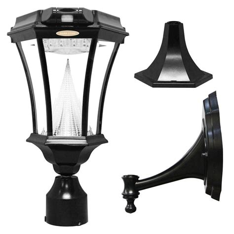 solar led outdoor l post gama sonic everest single black outdoor integrated led