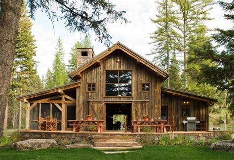 Pole Barn House Exterior Rustic With Sliding Doors