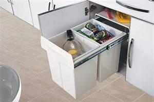 Poubelle De Tri Selectif : poubelle de cuisine encastrable 2x20 litres cacpo006 ~ Farleysfitness.com Idées de Décoration