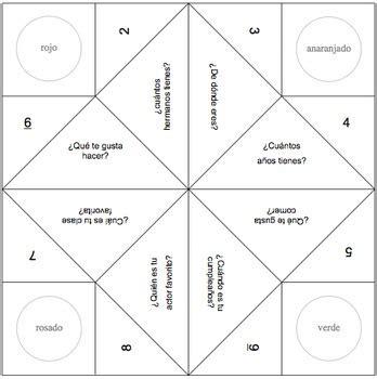 fortune teller template fortune teller templates in by spanishplans tpt